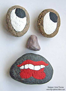 painted rocks, faces, rock painting, Cindy Thomas