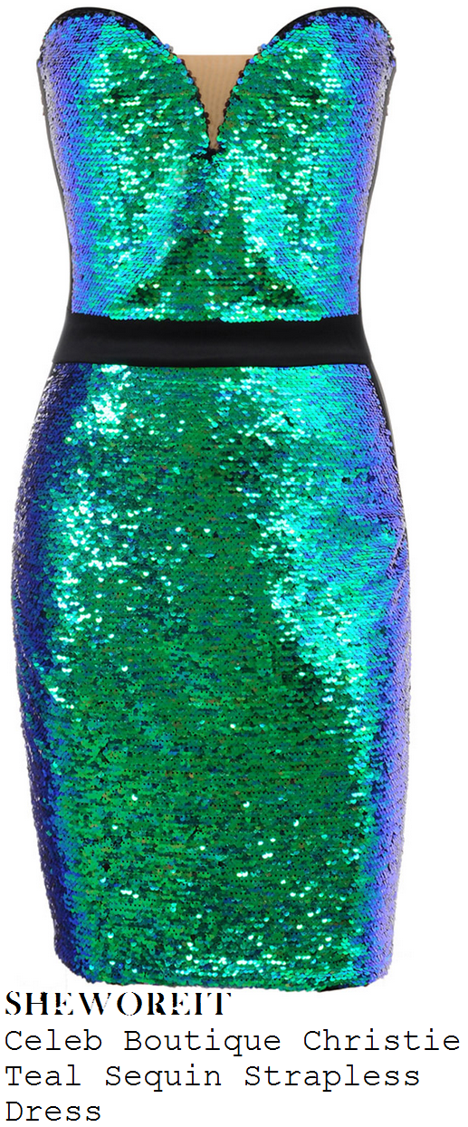 aubrey-o'day-teal-green-sequin-embellished-sweetheart-neckline-bodycon-pencil-dress-with-black-waistband-straps-and-hem