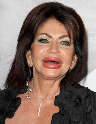 Jackie Stallone with duck lips