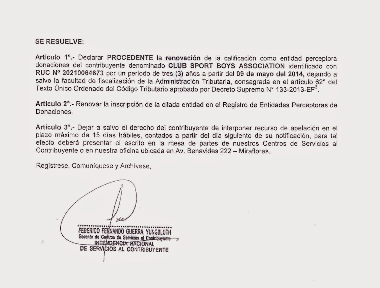 SUNAT DECLARA A SPORT BOYS COMO ENTIDAD PERCEPTORA DE DONACIONES ...
