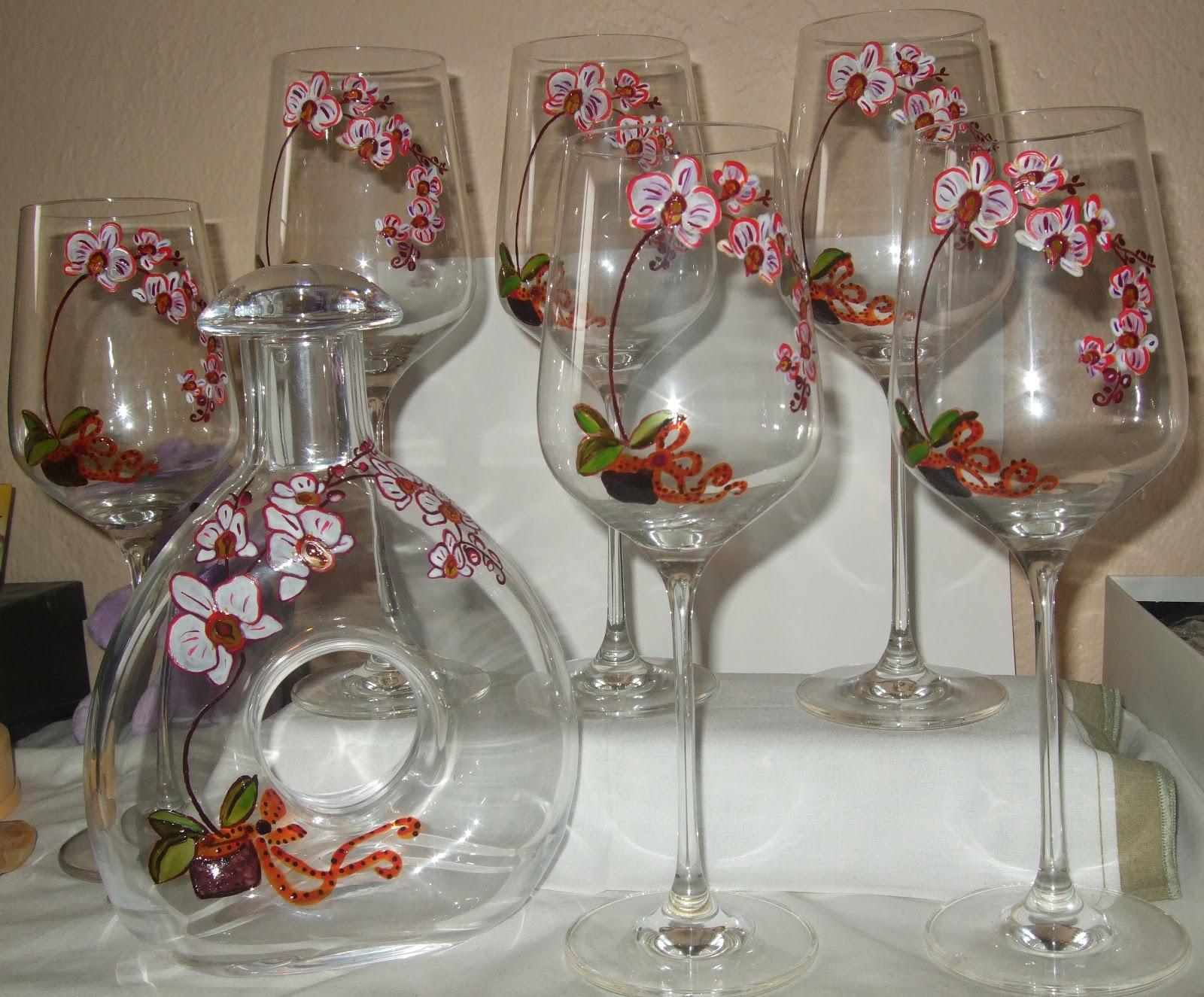 Ma peinture sur verre par ingrid cr ation ensemble orchid e for Enlever peinture sur verre