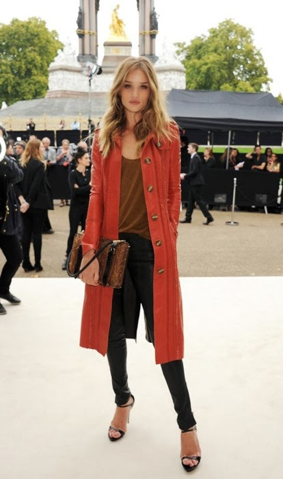 Coral Red Long Coat With Black Leather Jeans