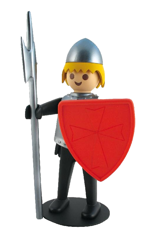 playmobil png, knight playmobil with high silver helmet, blonde