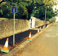 Pavement in Broughty Ferry in the process of upgrading prior to adoption