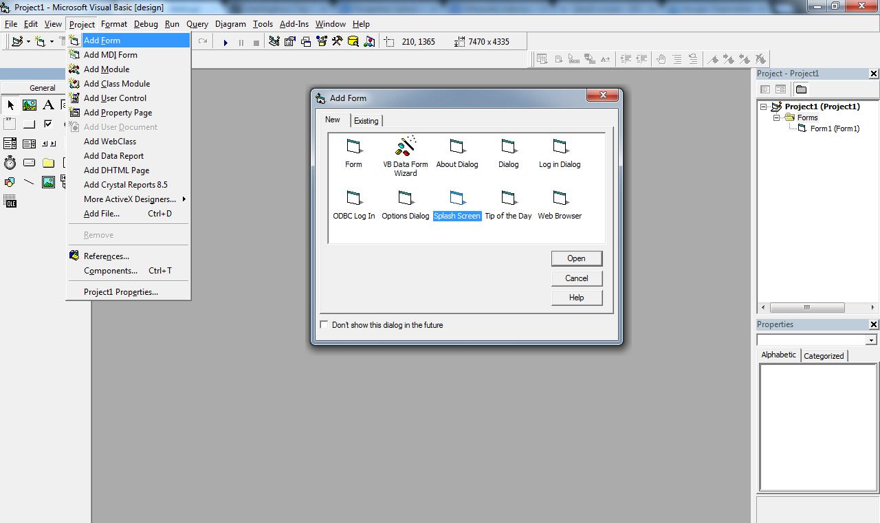 Menambahkan Form Splash Screen