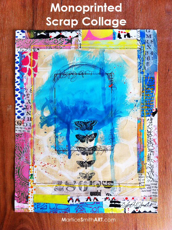 Monoprinted Scrap Collage | Tutorial by Martice Smith II (http://bit.ly/PaperScrapCollage)