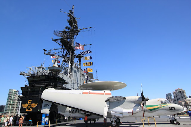The rear view of the Flight Deck Control at USS Midway Museum in San Diego, California, USA