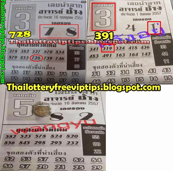 Thai Lotto Free Exclusive tip paper 16-08-2014