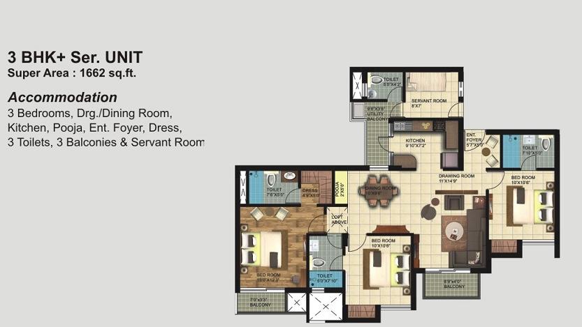 Paarth Republic Mega Township Floor Plans 1662 Sq Ft
