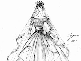 Lace Wedding Dresses Sketch Drawing