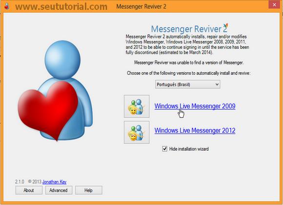 continuar com msn sem atualizar skype 2013
