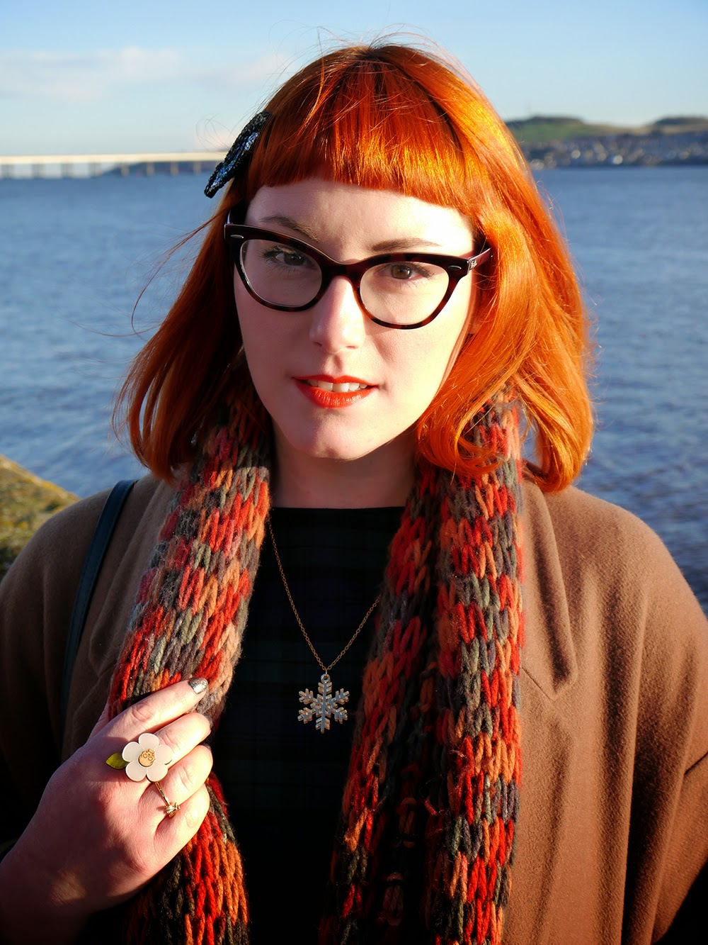 Scottish blogger, winter outfit, Luna on the Moon eye, Bonnie Bling snowflake necklace, Handknitted circle scarf, Vintage Style Me tartan dress, Zara brown ankle boots, Accessorize clutch bag, Red head, ginger, winter sun