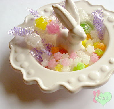 Kawaii Japanese Konpeito Candy in Bunny Dish