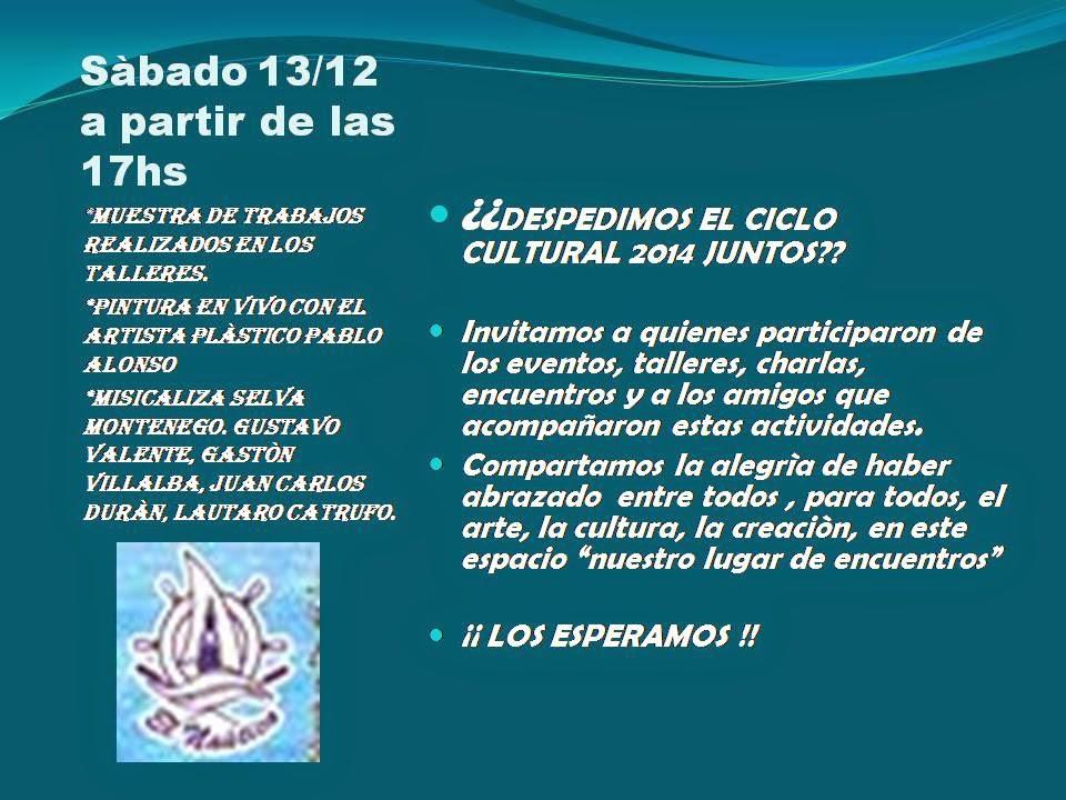 JORNADA CULTURAL EN EL BAR EL NÁUTICO DE MAR DEL TUYÚ : Sábado 13/12, a partir de las 17 hs,