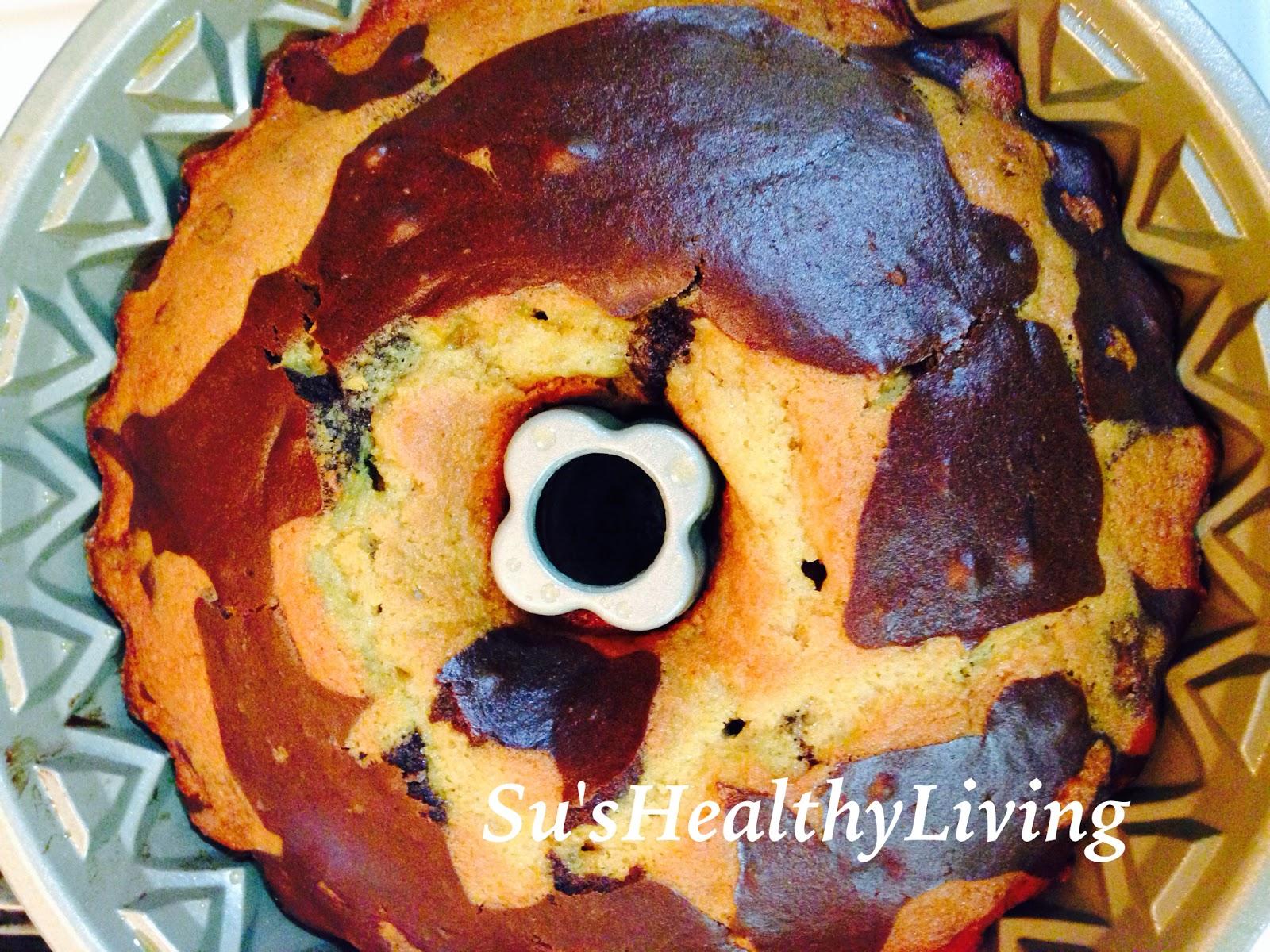 Su 39 s healthy living chocolate orange marble bundt cake for Living room 5 minute chocolate cake