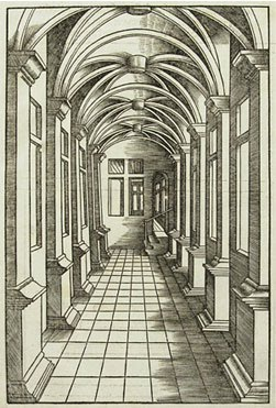 In this drawing, all the lines converge on the tiled floor. Also the  columns get smaller and smaller as they recede into the point of  perspective.