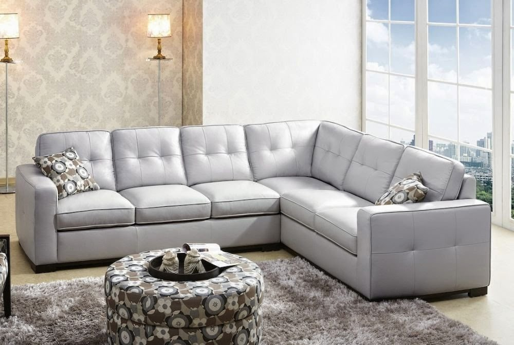 Grey sectional couch leather grey sectional couch for Light gray leather sofa