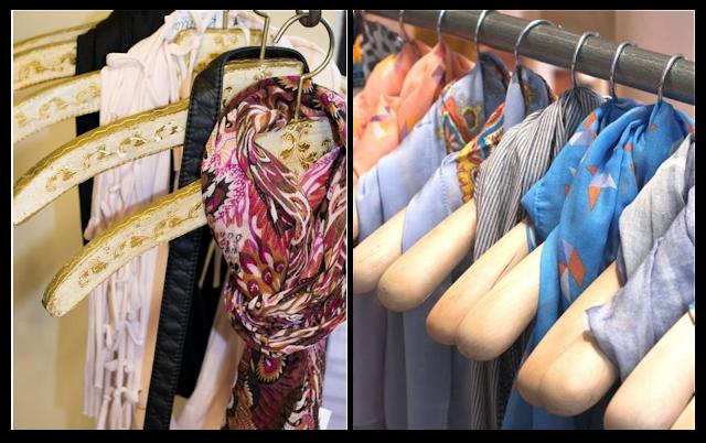Ideas para almacenar o guardas bufandas: en perchas / How to store your scarves: hangers