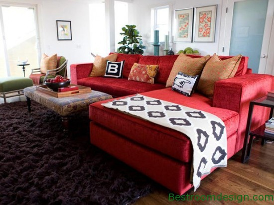 ... down the red sofa while still incorporating it into the space. The only  thing I would add are more personal touches like a throw-blanket, family  photos, ...