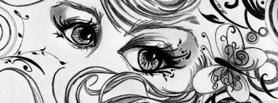Couverture facebook noir et blanc beaux yeux