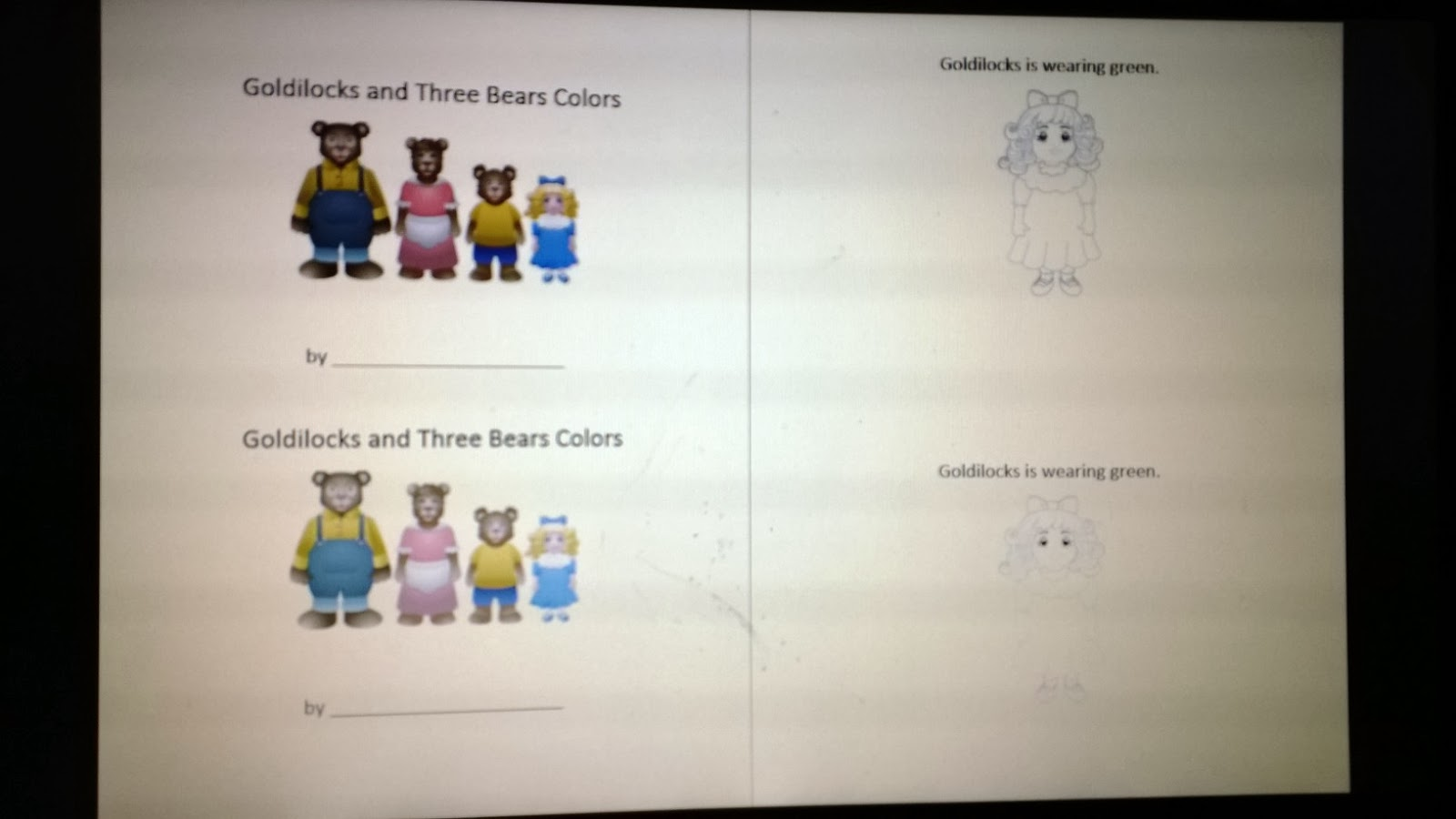 Goldilocks And The Three Bears Color Book (Parent Volunteers Underline  Color Words Using Color Pencils) I Try To Make A Couple Of Little Sight  Word Readers ...
