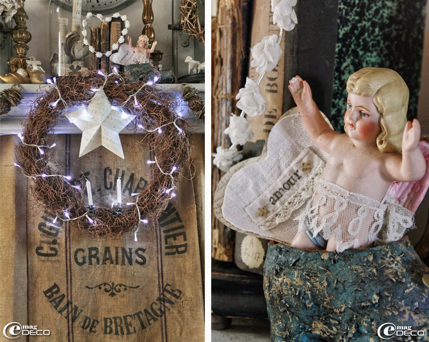 Couronne décorée et illuminée devant une cheminée décorée pour Noël d'un rideau de toile de jute taillé dans des sacs à grains