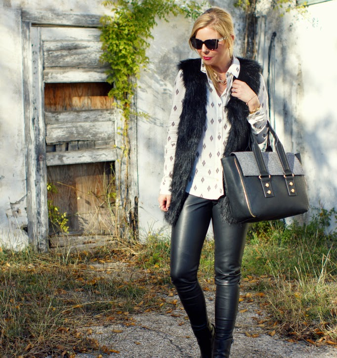 Faux fur vest and black leather leggings