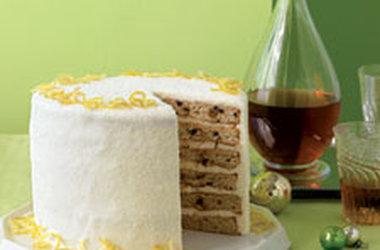 Layered Fruitcake Creme Fraiche Frosting | Healthy Bake Fruitcake Creme Fraiche Frosting Recipe