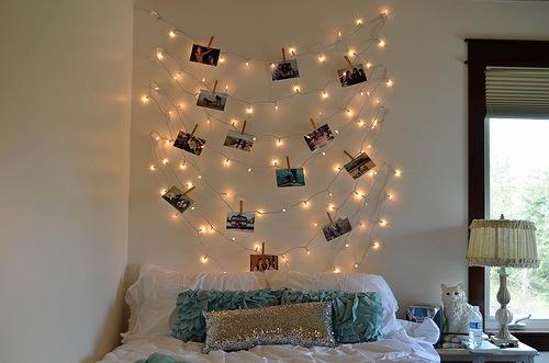 Mural de luzes com fotos