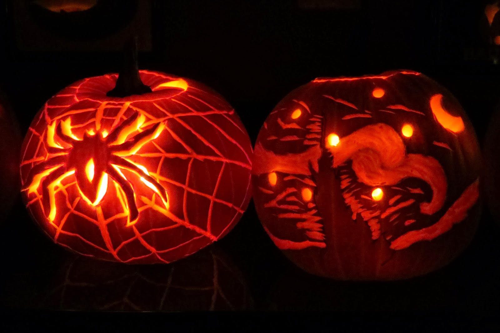 Carved Spider Pumpkin, Van Gogh Starry Night Carved Pumpkin