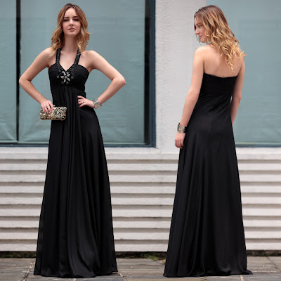 Black Halter Floor Length Dress