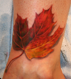 fallen leaf tattoo design