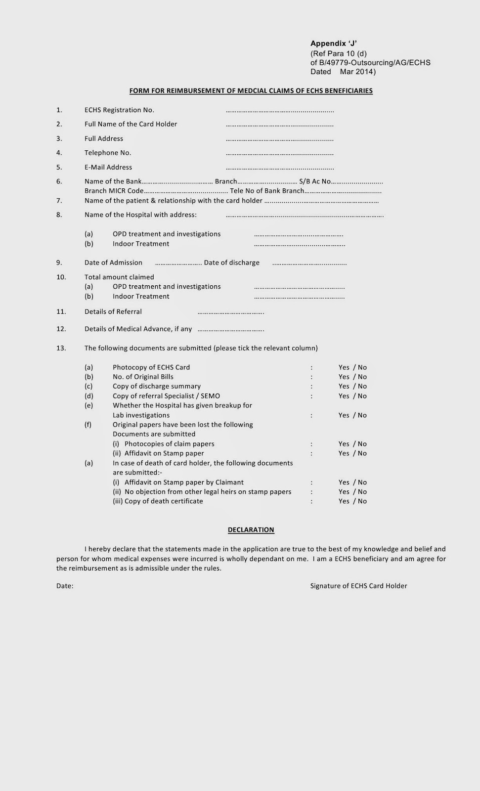 Form For Reimbursement Of Medical Claims Of Echs Beneficiaries