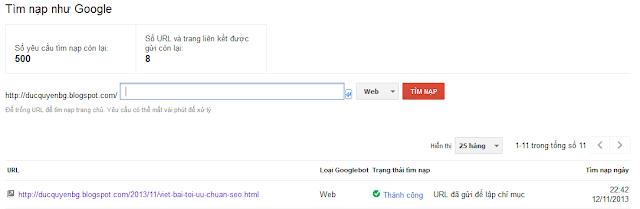 Tăng tốc độ index của google trên website của bạn