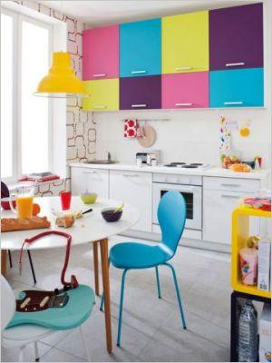 Via Maison A Part   Colorful Kitchen Cabinets
