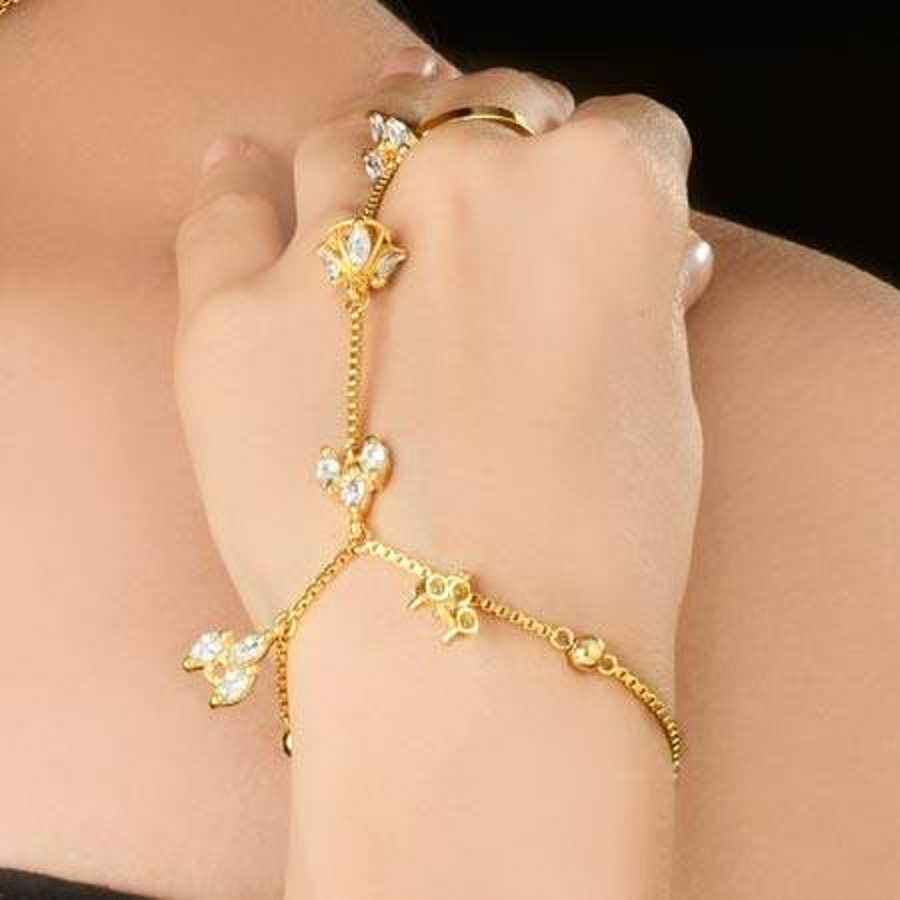 Gold Bracelet Attached To Ring
