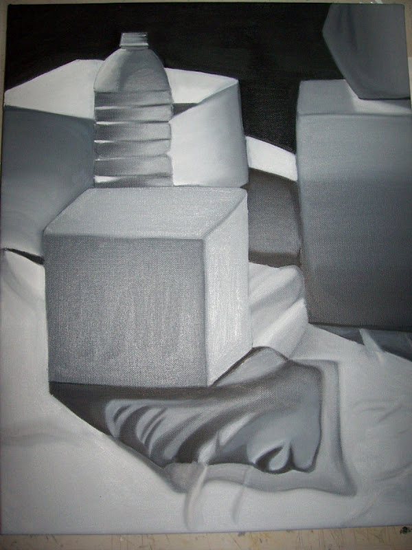 My First Oil Painting Still Life Black White Run