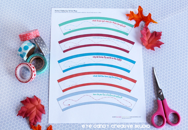print out of fall joke wraps for pudding cups, Hershey's, washi tape, supplies