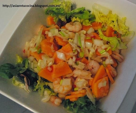 Ensalada de langostinos y papaya cocina - Ensalada de langostinos ...