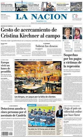 Tapa diarios la nacion clarin 06 09 11 report show for Diarios del espectaculo