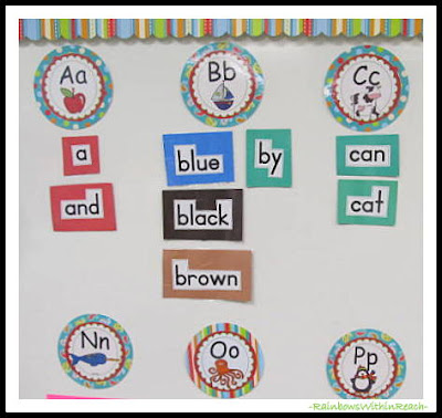 photo of: Word Wall for Kindergarten at RainbowsWithinReach
