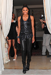 Ciara & Keri en total look cuir pour la Paris Fashion Week