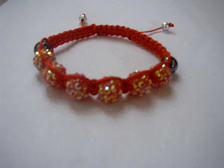 Red resin rhinestone with hematite beads shamballa bracelet