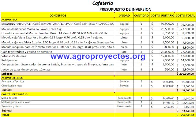 Activos fijos, diferidos y capital de trabajo para Cafeteria.