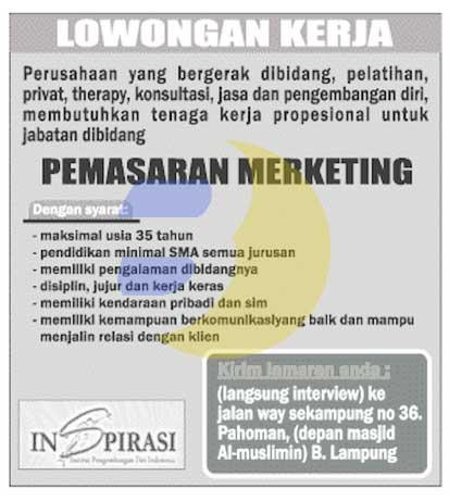 Lowongan Kerja Lampung, Rabu 18 Februari 2015 - INSPIRASI (Institut Pengembangan Diri Indonesia)