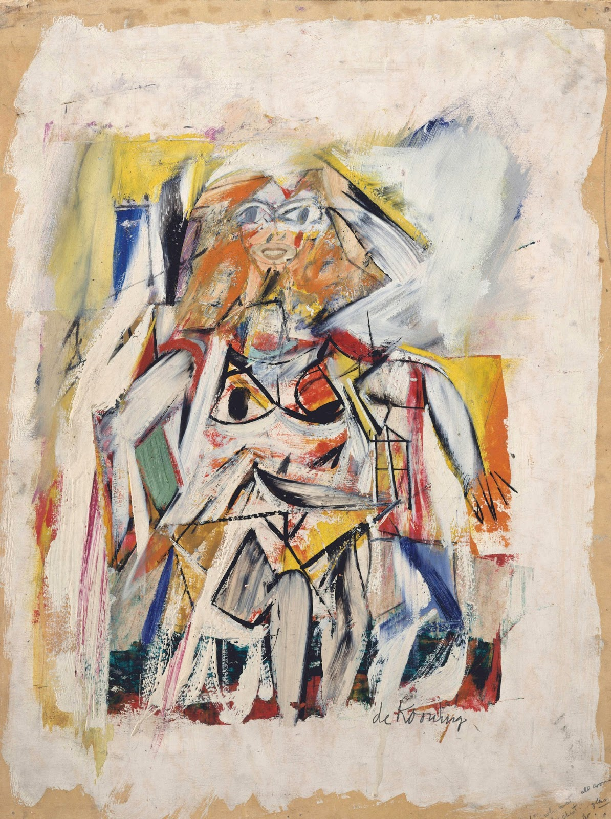 Woman   1950  Oil  cut and pasted paper on cardboard  14 3 4x 11 5 8    Willem De Kooning Abstract Expressionist Paintings