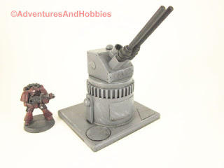 Miniature wargame remote air defense gun turret - side view C.