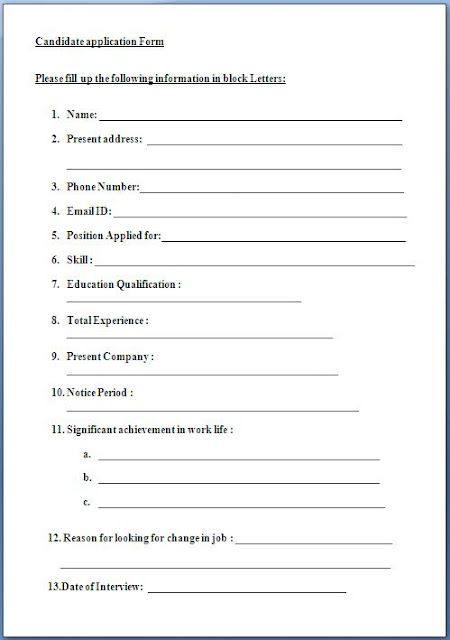 Example how to create make a job employment application form format
