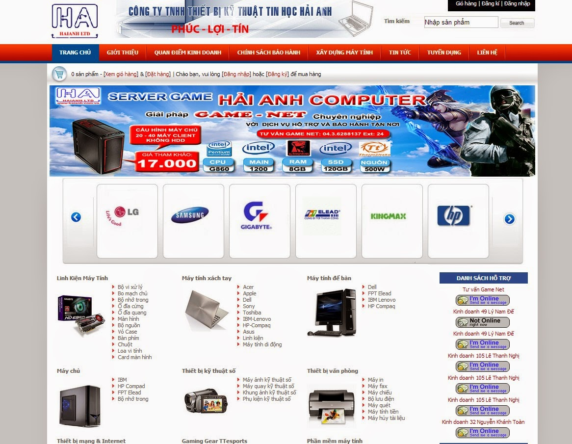 thiết kế website bán hàng thiết bị văn phòng đẹp