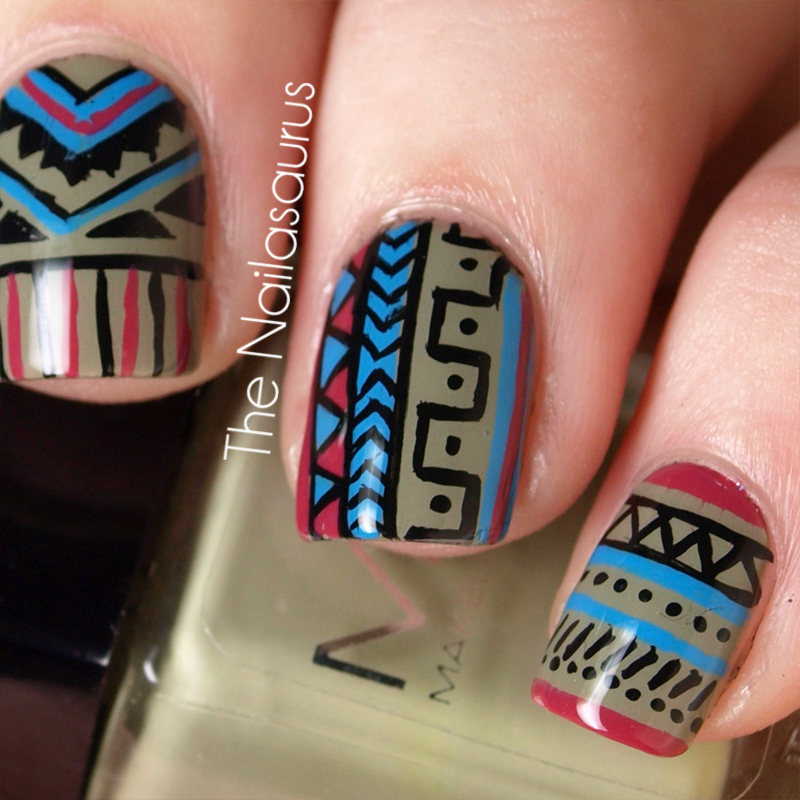 Day 16 tribal print the nailasaurus uk nail art blog you should go and see what rie and cristina came up with today too prinsesfo Image collections